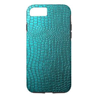Het blauwgroene Patroon van het Leer van Snakeskin iPhone 7 Hoesje