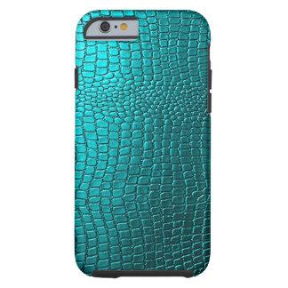 Het blauwgroene Patroon van het Leer van Snakeskin Tough iPhone 6 Hoesje