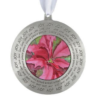 Het blije Ornament van de Poinsettia van de Tin Rond Ornament