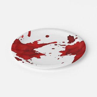 Het bloed ploetert papieren bordje