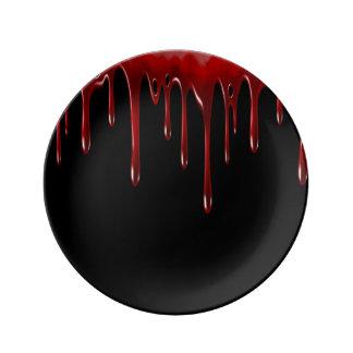 Het Bloed van Falln druipt Zwarte Porseleinen Bord