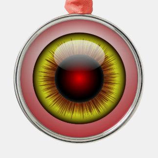 Het bloeddoorlopen Gele lis van de Oogappel om Zilverkleurig Rond Ornament