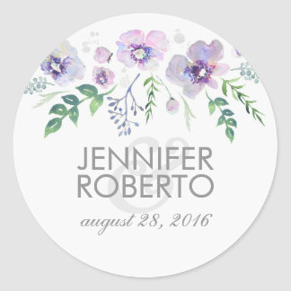 Het Bloemen Blauwe Paarse Huwelijk van de Ronde Sticker