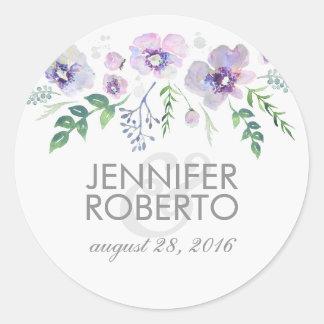 Het Bloemen Blauwe Paarse Huwelijk van de Ronde Stickers