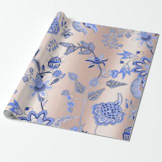 Het bloemen Blauwe Roze van het Kobalt nam Inpakpapier
