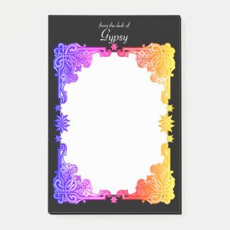 Het Bloemen Boheemse Gewaagde Kleurrijke Getrokken Post-it® Notes