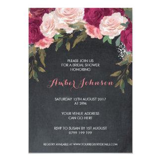 Het bloemen bord van de 12,7x17,8 uitnodiging kaart