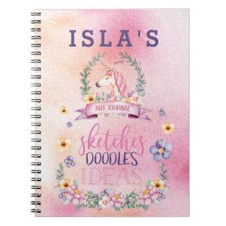 Het bloemen Dagboek van de Kunst van de Eenhoorn Ringband Notitieboek
