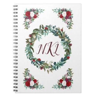 Het bloemen Dagboek van het Monogram met Rood Notitieboek
