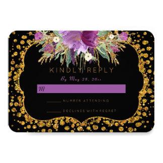 Het bloemen Goud schittert Confettien Zwarte RSVP Kaart
