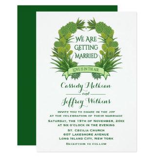 Het bloemen Groene Succulente Huwelijk van de Kaart