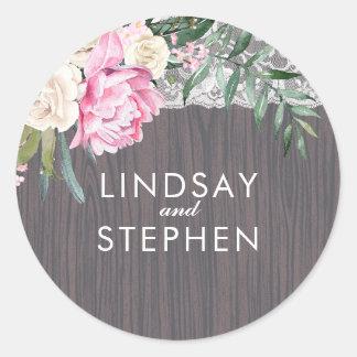 Het Bloemen Houten Rustieke Vintage Huwelijk van Ronde Sticker