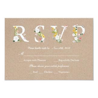 Het bloemen Huwelijk RSVP van de Liefde - Kaart