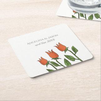 Het bloemen Huwelijk van de Tulpen van de Lente Vierkante Onderzetter