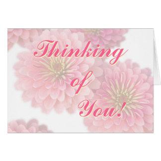Het bloemen kaart-Roze Zinnia Flowers van de Groet Kaart