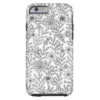 Het bloemen Kleuren van Krabbels Tough iPhone 6 Hoesje