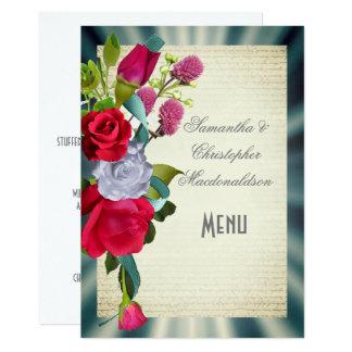 Het bloemen menu van het boekethuwelijk kaart