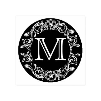 Het Bloemen Ontworpen Monogram van de cirkel Rubberstempel