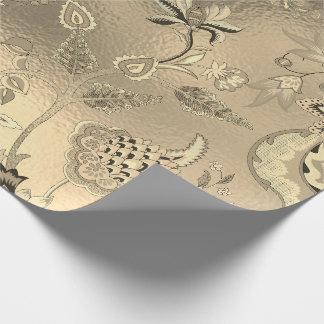Het bloemen Oosterse Sepia van de Tuin Gouden Glas Cadeaupapier