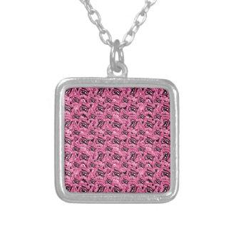 Het bloemen Roze Patroon van de Collage Zilver Vergulden Ketting