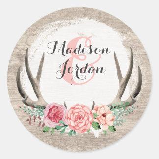 Het bloemen Rustieke Houten Gepersonaliseerde Ronde Sticker