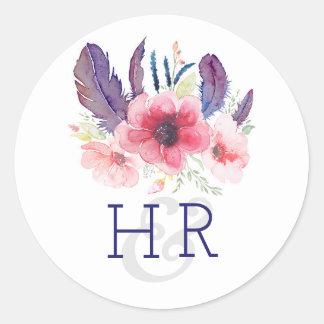 Het bloemen Vintage Huwelijk van de Waterverf Boho Ronde Sticker