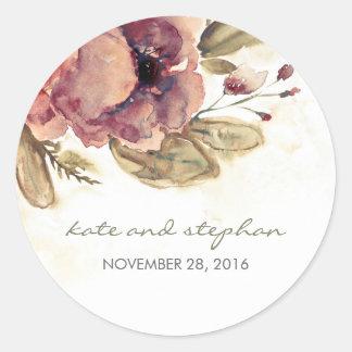 Het Bloemen Vintage Huwelijk van de waterverf Ronde Sticker