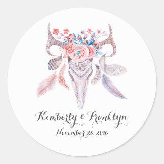 het bloemen vintage huwelijk van schedelboho ronde sticker