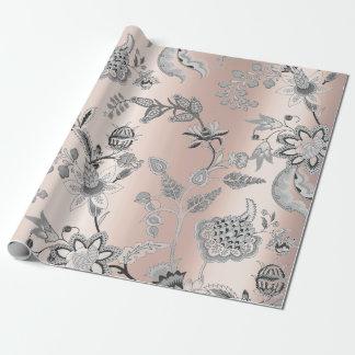 Het bloemen Zilveren Grijze Roze nam Parelachtig Inpakpapier
