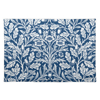 Het BloemenDamast van de Jugendstil, het Blauw van Placemat