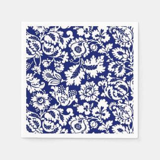 Het BloemenDamast van William Morris, het Blauw Papieren Servetten