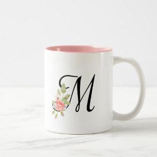 Het BloemenMonogram van de Waterverf van Girly van Tweekleurige Koffiemok
