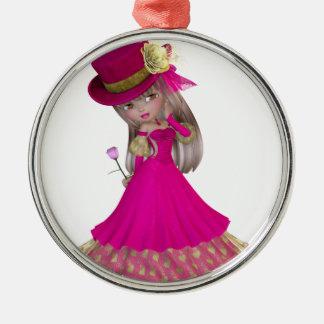 Het blonde Meisje die een Roze houden nam toe Zilverkleurig Rond Ornament