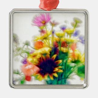 Het Boeket van Wildflower van de zomer Zilverkleurig Vierkant Ornament