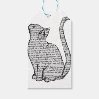 het boeksticker van de kattenlezing cadeaulabel