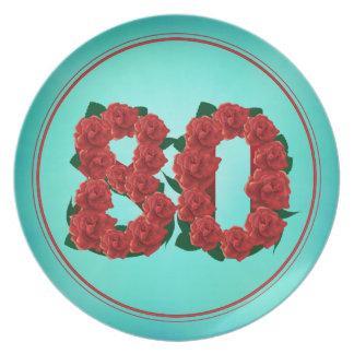 het bord van 80 de verjaardags tachtigste rozen