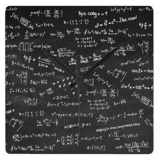 Het Bord van de Formules van de wiskunde Vierkante Klok