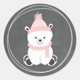 Het Bord van de Ijsbeer inspireerde Roze Baby Ronde Sticker