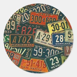 Het Bord van de Nummerplaten van de Reis van de Ronde Sticker