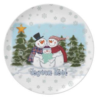 Het Bord van Joyeux Noel van de Familie van de sne
