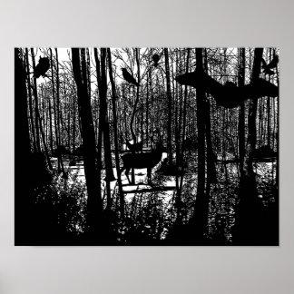 Het bos Poster van de Kunst van het Silhouet van