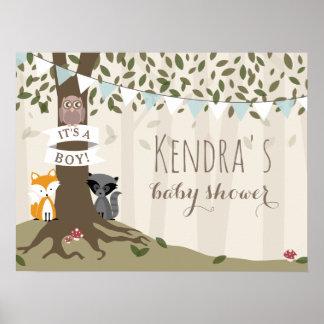 Het bos Poster van het Baby shower van de Jongen