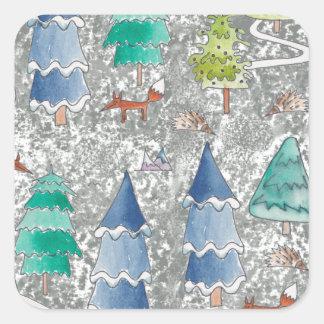 Het bos van de de kleurenwinter van het water vierkante stickers