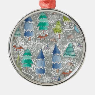 Het bos van de de kleurenwinter van het water zilverkleurig rond ornament