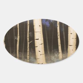 Het Bosje van de esp Ovale Stickers