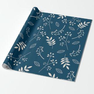 Het botanische Bloemen Marineblauwe Groen van Cadeaupapier