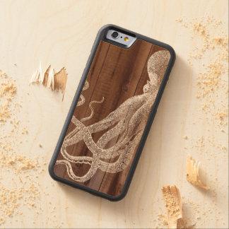 Het Botanische Hout van de vintage Octopus Esdoorn iPhone 6 Bumper Hoesje