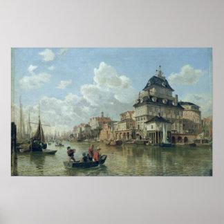 Het Botenhuis bij Haven van Hamburg, 1850 Poster