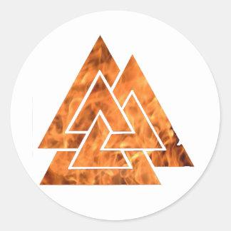 Het branden Valknut Ronde Sticker