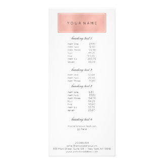 Het brandmerken het Roze van de Prijslijst nam 10,2x 22,9 Cm Reclamekaart
